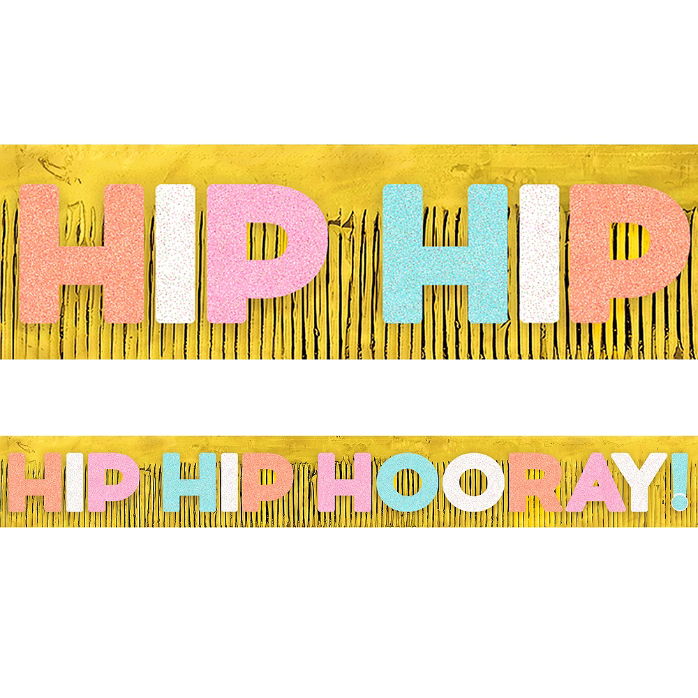 Giant Glitter Hip Hip Hooray Fringe Banner Image #1