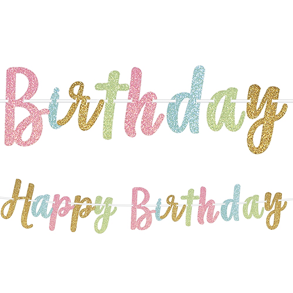 Nav Item for Glitter Happy Birthday Letter Banner Image #1