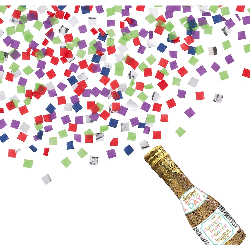 Glitter Happy Birthday Bottle Confetti Popper Image 1