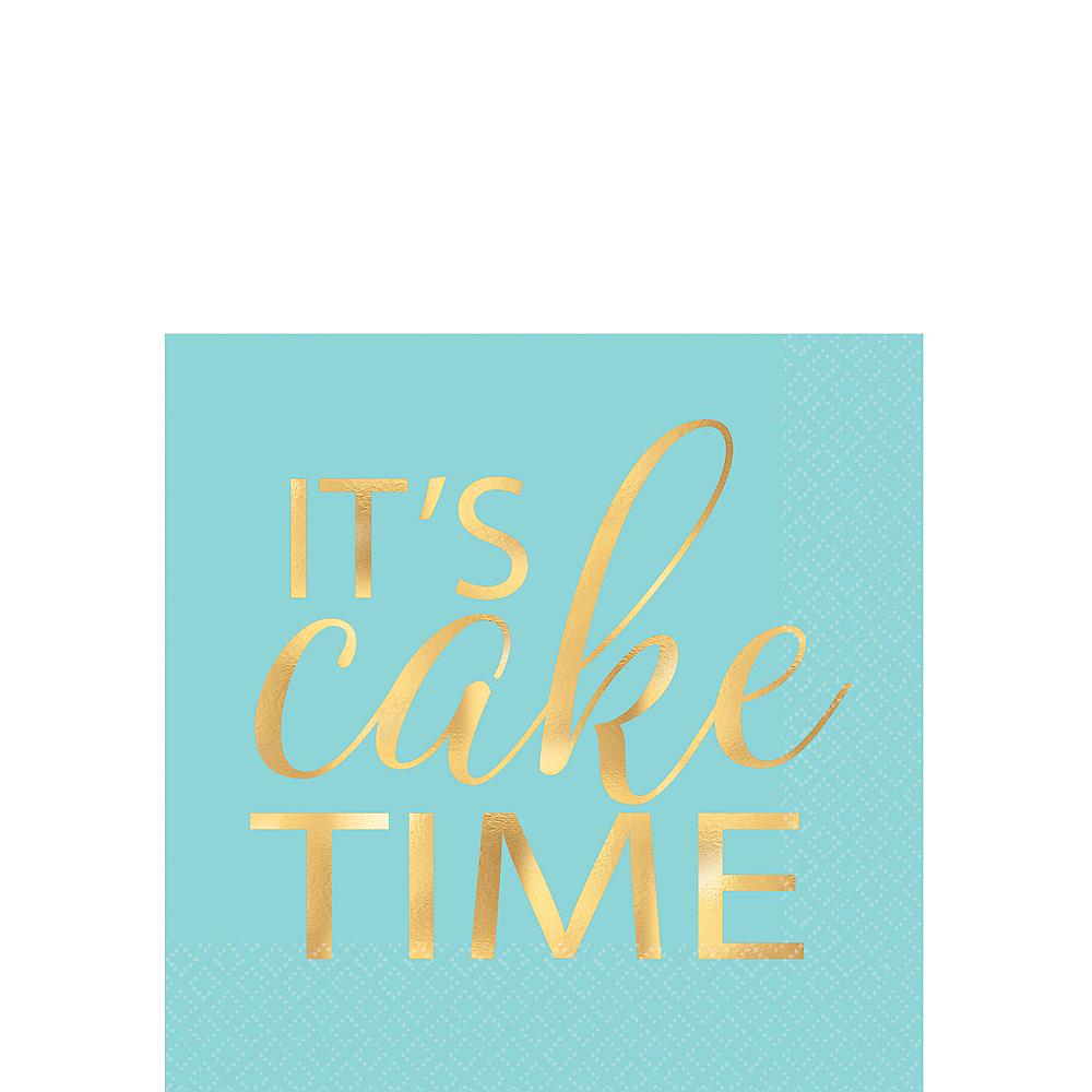 16 Its Cake Time Napkins Teal Metallic Foil Gold Script Table Girls Birthday