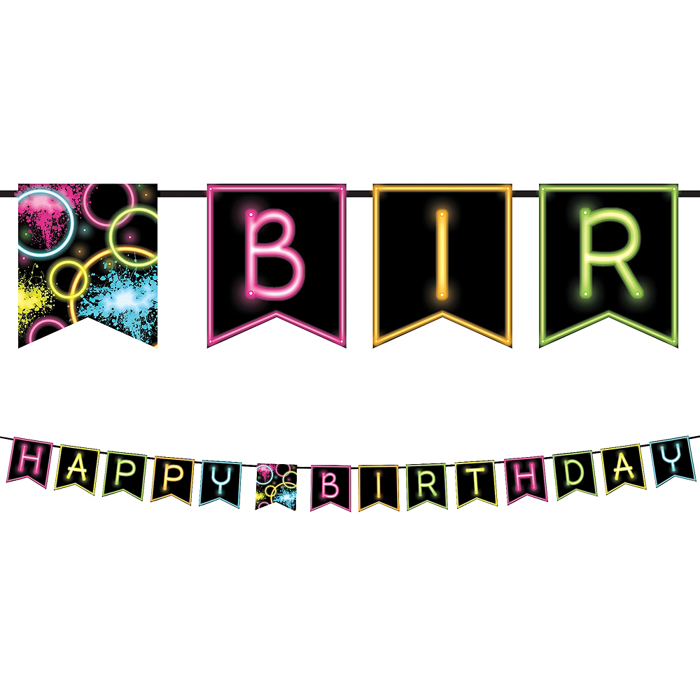 Neon Happy Birthday Banner 9ft x 6in | Party City