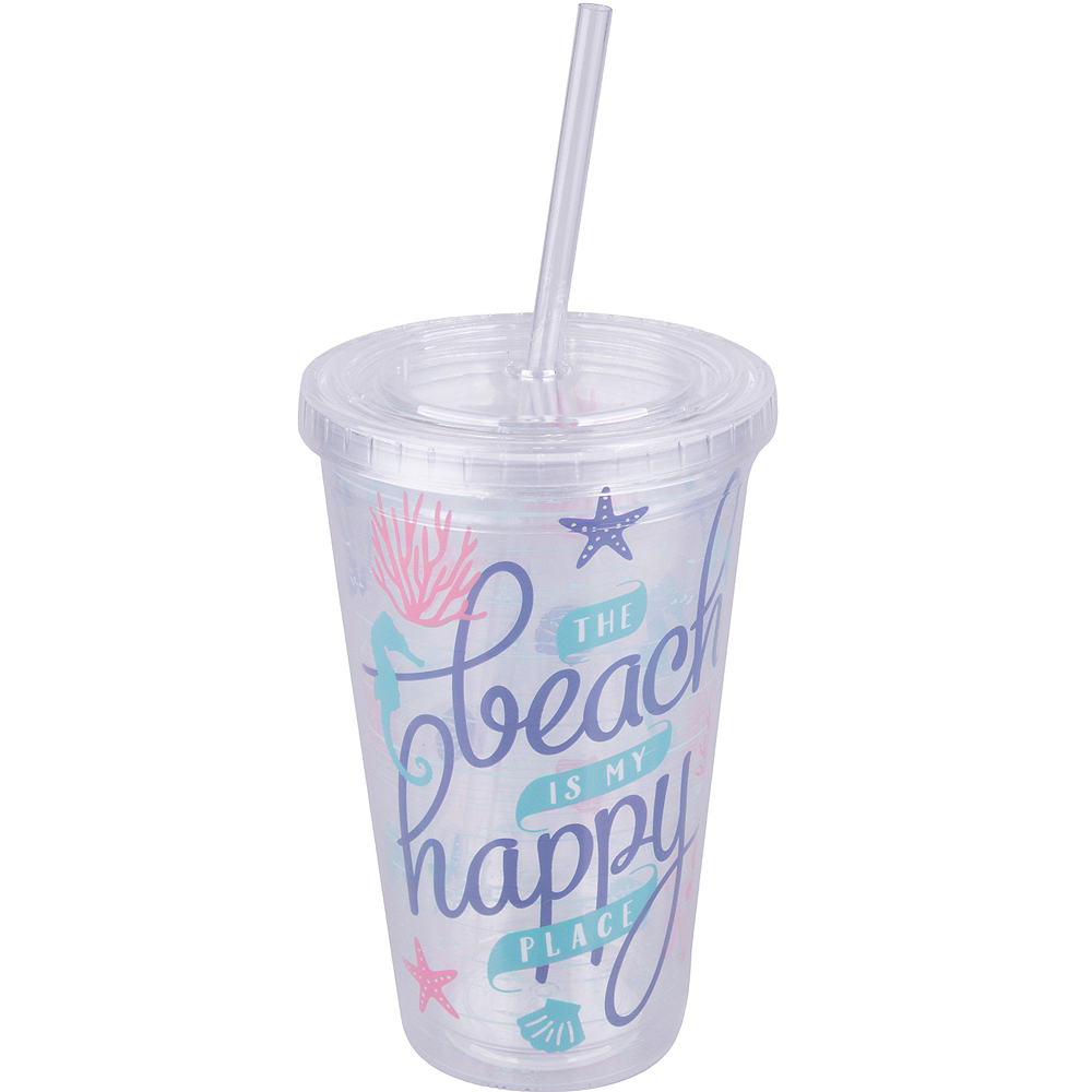 Beach Double Wall Tumbler with Straw Image #1