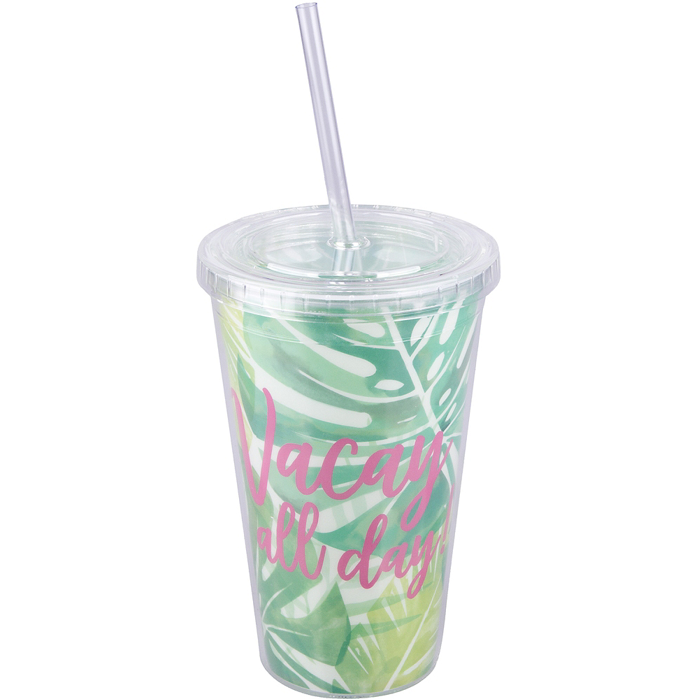 Vacay All Day Double Wall Tumbler With Straw 16oz Party City Tour Mechandise Image 1