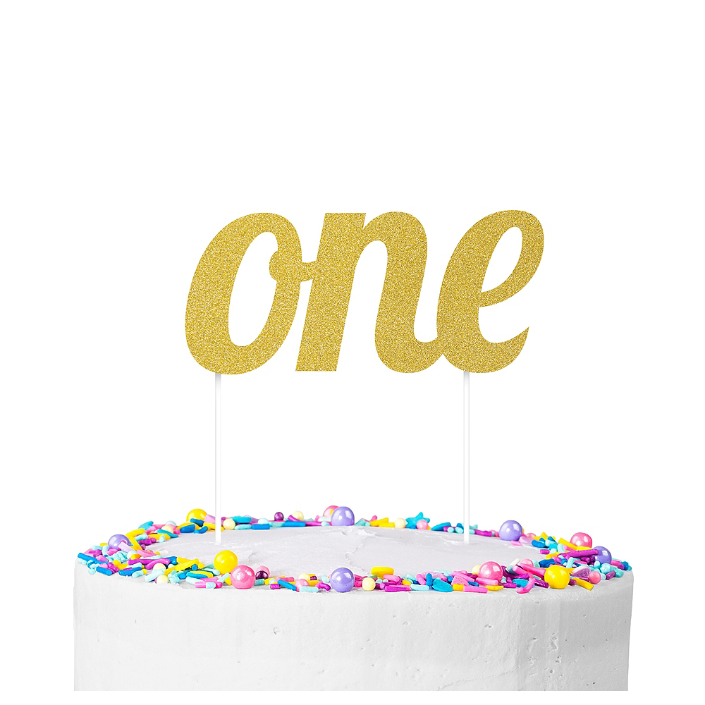 gold glitter one cake topper 6in x 3in party city