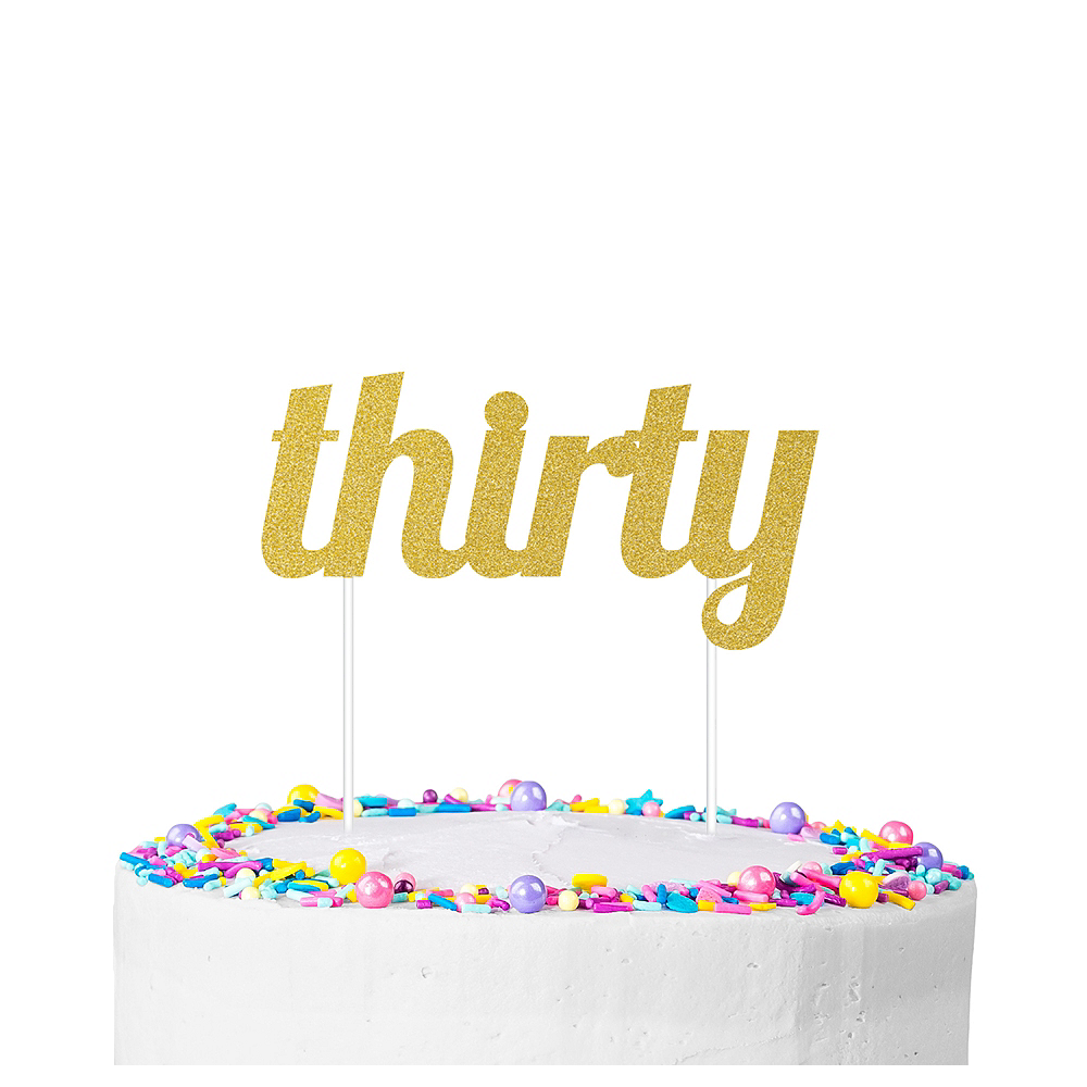 Glitter Thirty Cake Topper Image #1