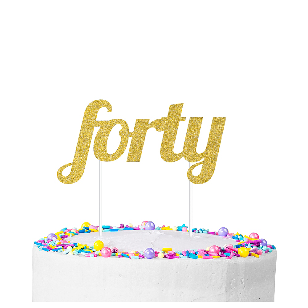 Gold Glitter Forty Cake Topper Image #1