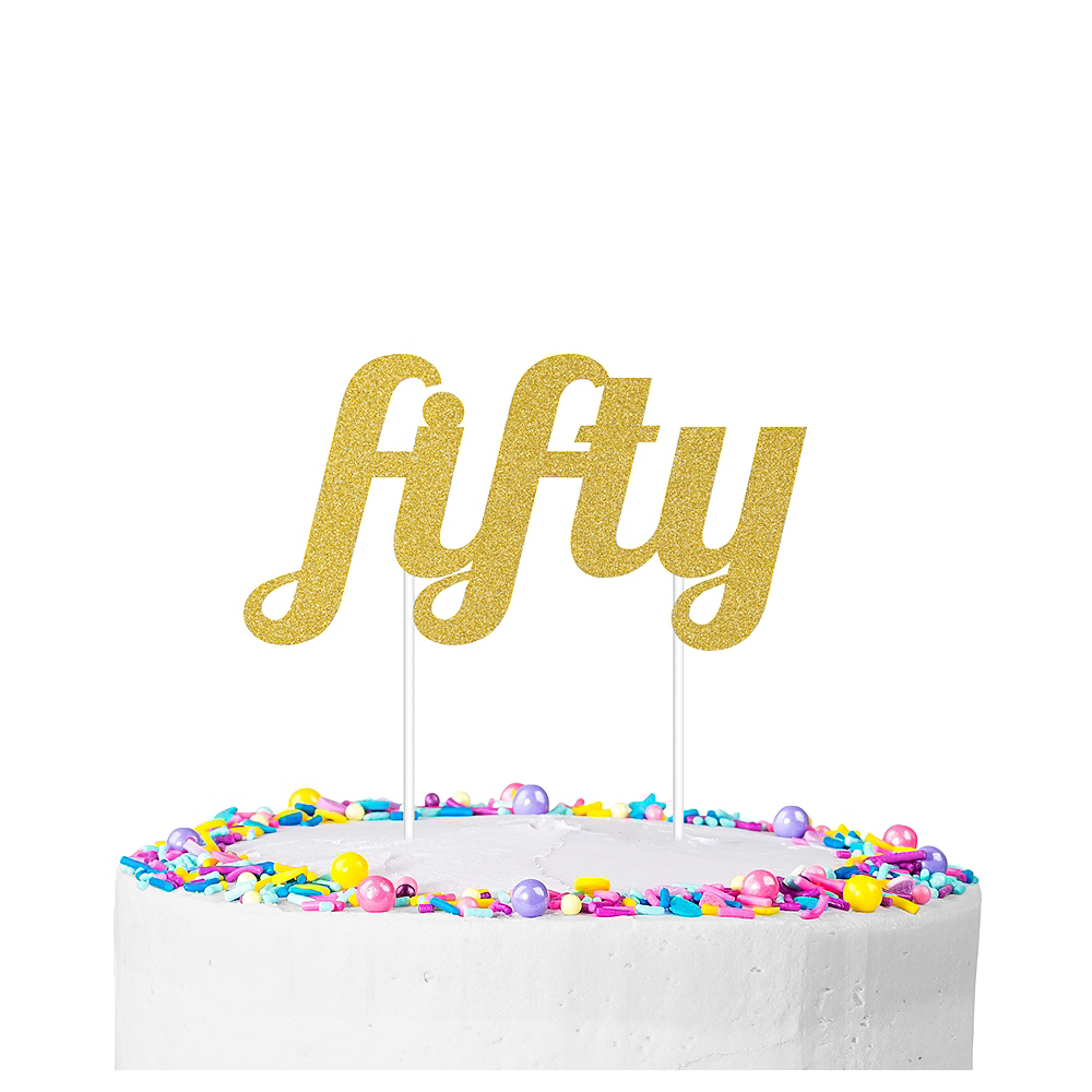 Gold Glitter Fifty Cake Topper Image #1