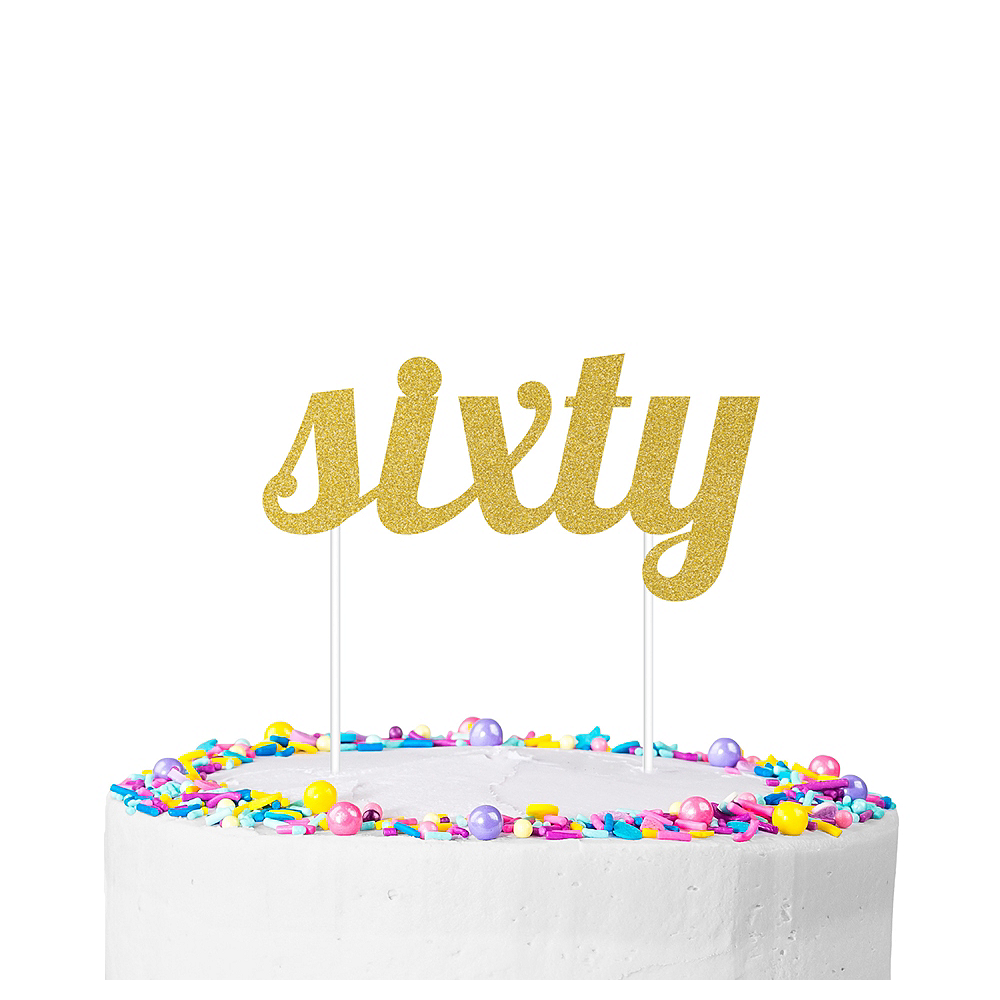 Nav Item for Gold Glitter Sixty Cake Topper Image #1