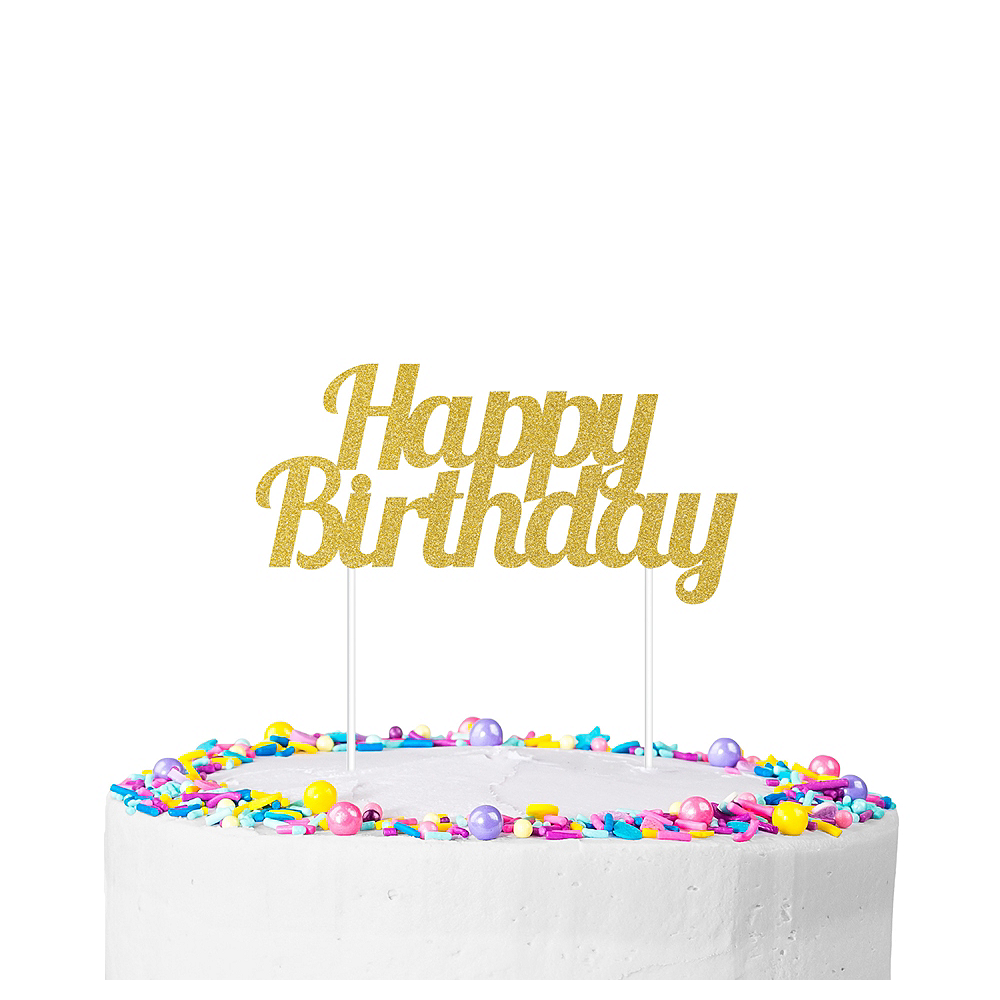 Gold Glitter Happy Birthday Cake Topper 7in x 3in | Party City Canada