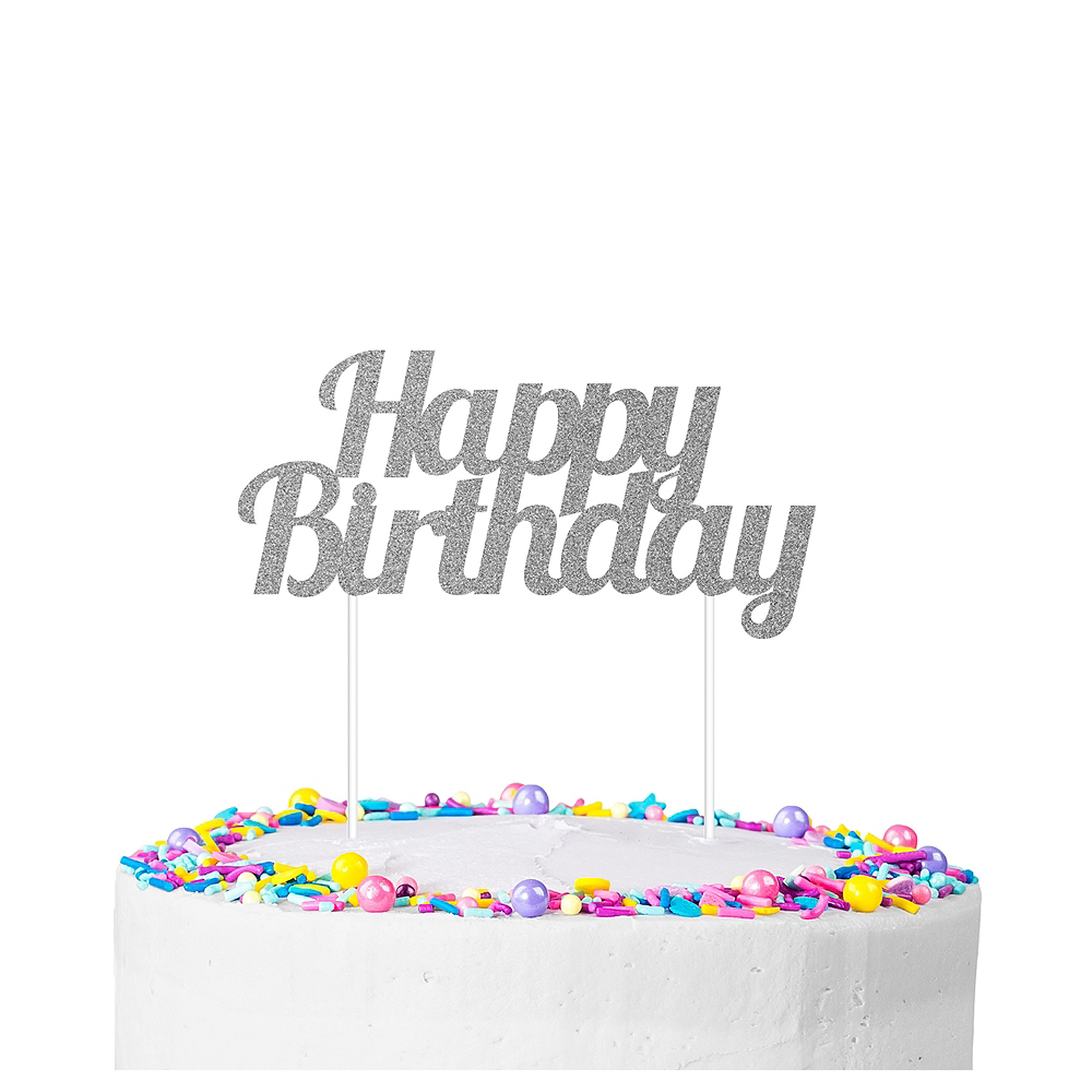 Silver Glitter Happy Birthday Cake Topper 7in X 3in Party City