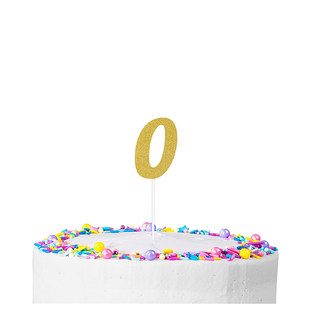 Gold Glitter Number 0 Cake Topper Image 1