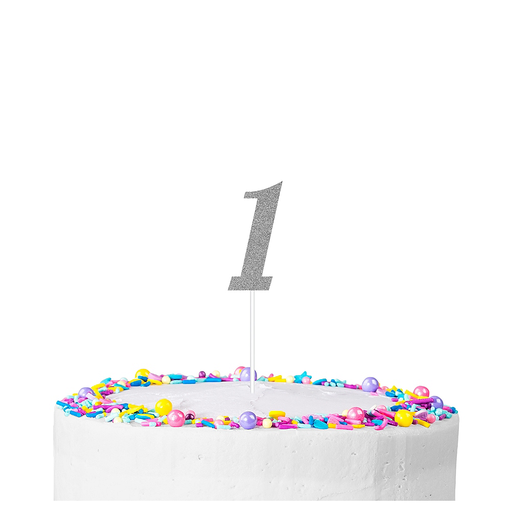 Silver Glitter Number 1 Cake Topper Image #1