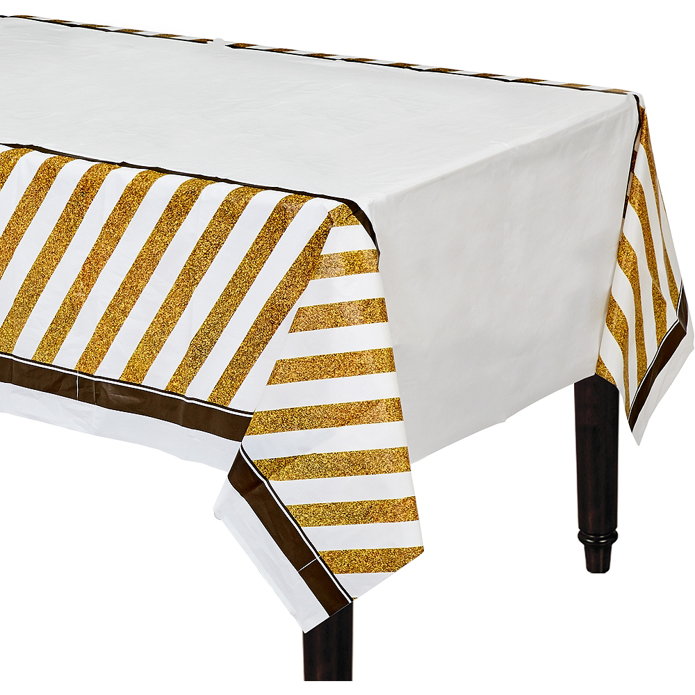 White & Gold Striped Table Cover Image #1