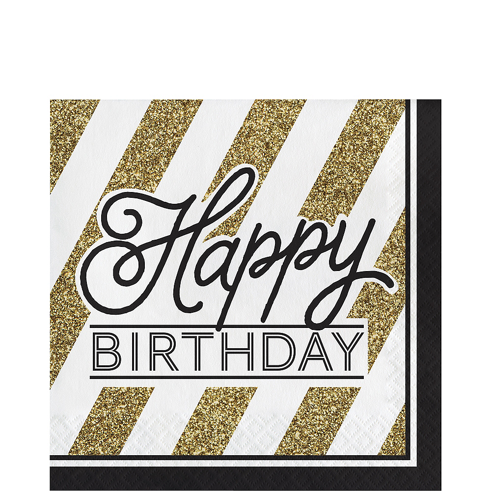 White & Gold Striped Happy Birthday Lunch Napkins 16ct Image #1