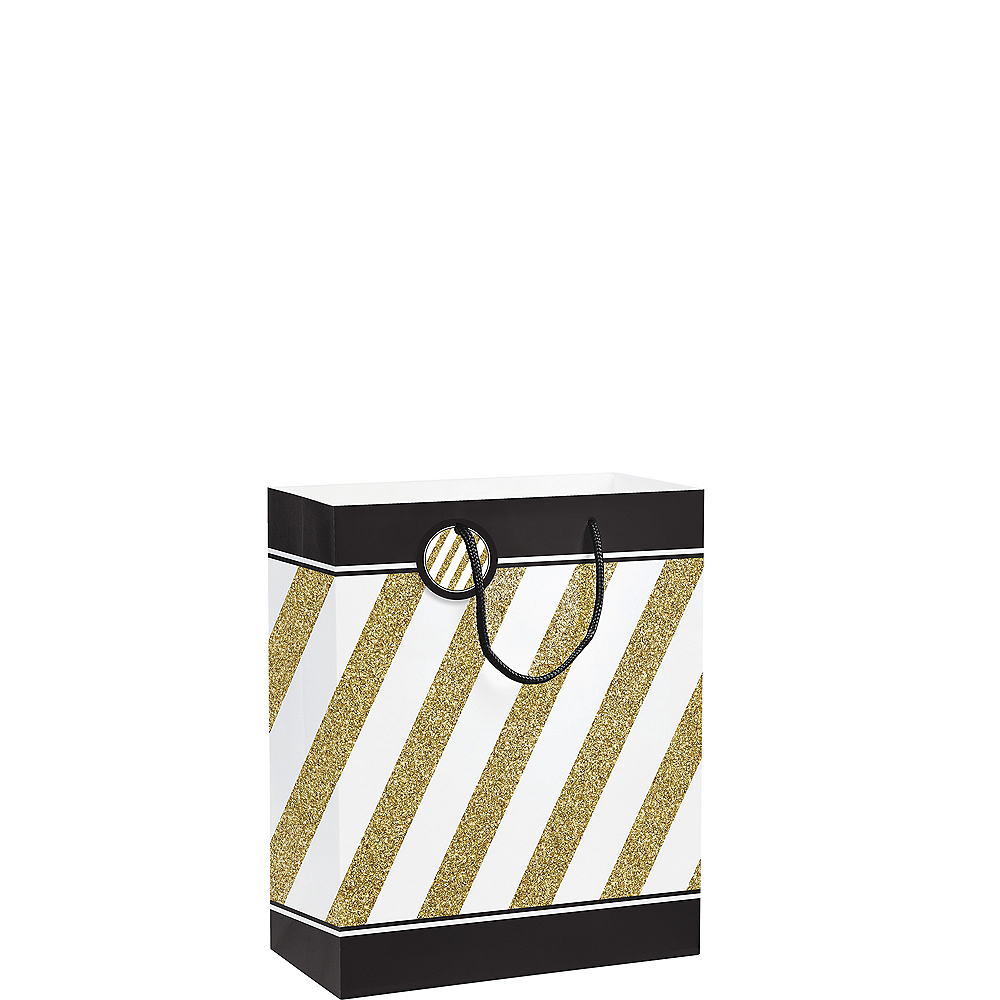 White & Gold Striped Gift Bag Image #1