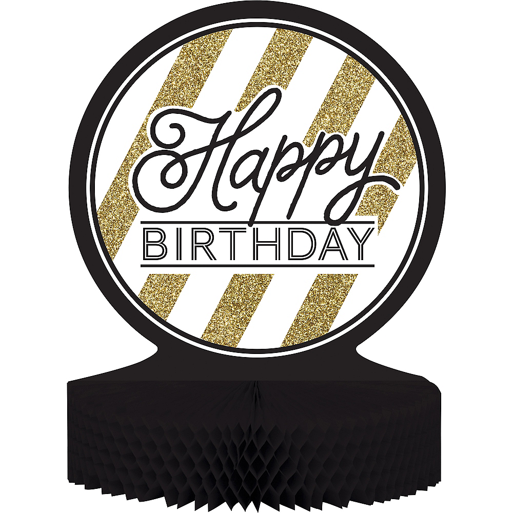 White & Gold Striped Happy Birthday Honeycomb Centerpiece Image #1