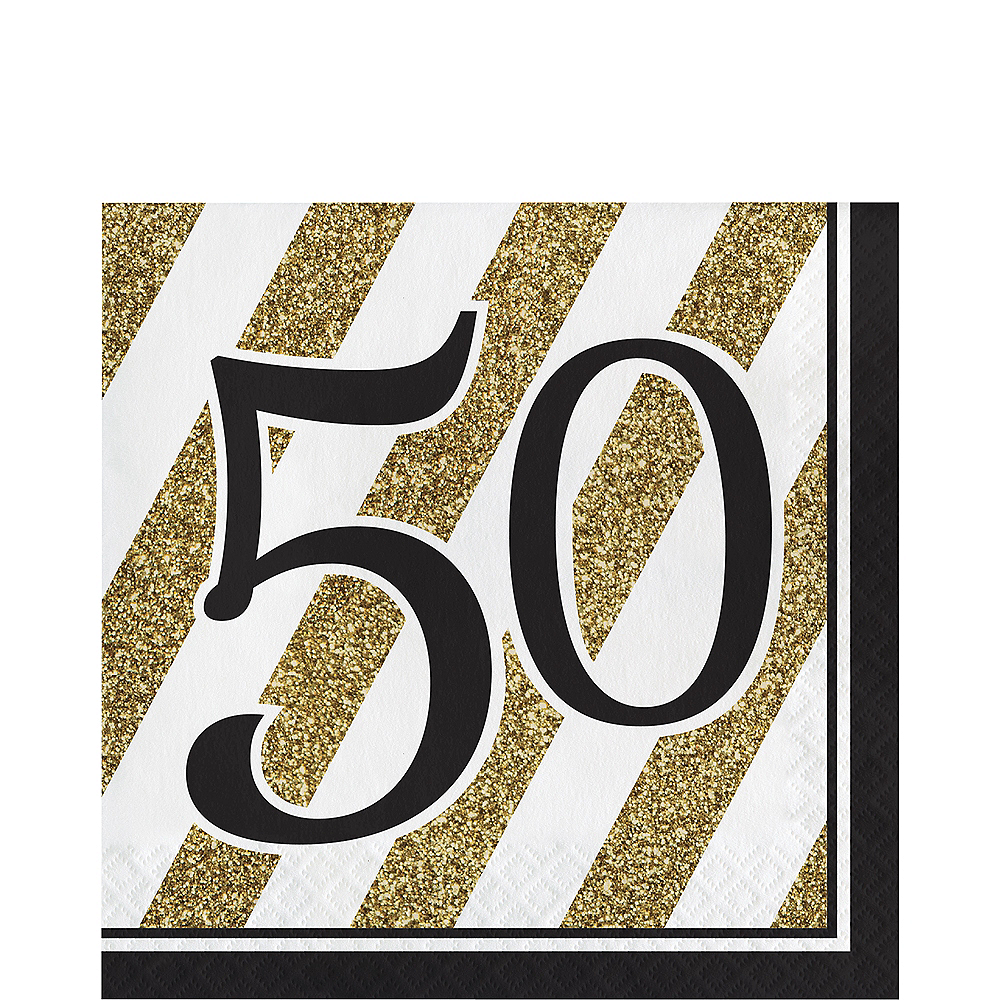 White & Gold Striped 50 Lunch Napkins 16ct Image #1