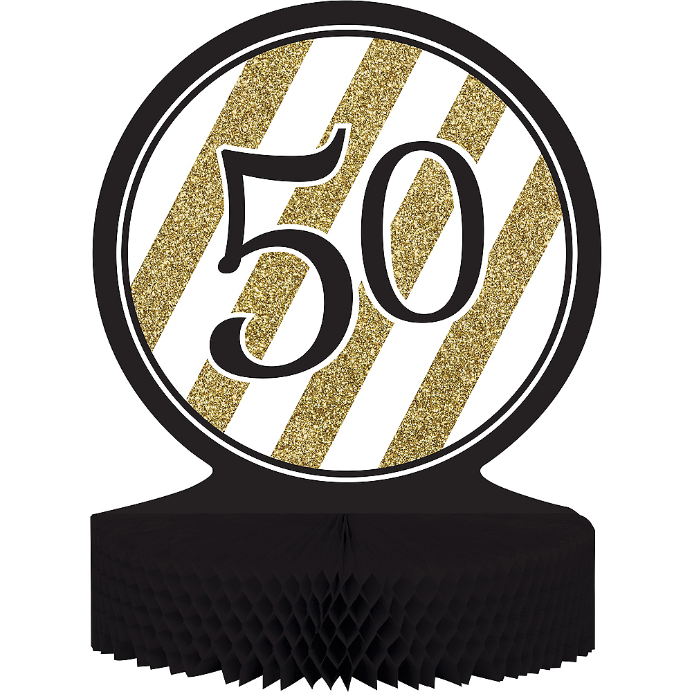 White & Gold Striped 50 Honeycomb Centerpiece Image #1