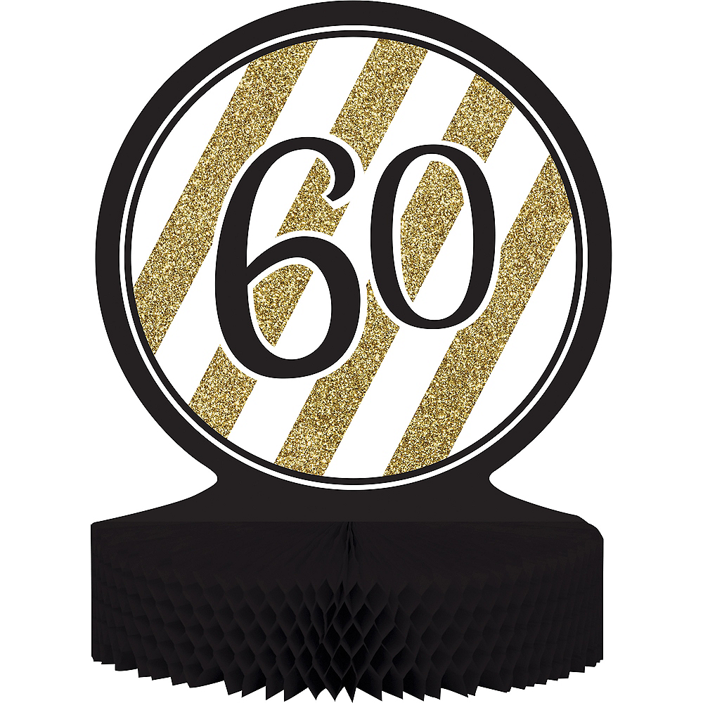 White & Gold Striped 60 Honeycomb Centerpiece Image #1