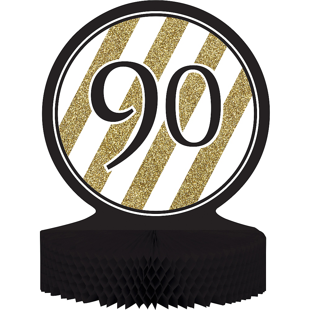 White & Gold Striped 90 Honeycomb Centerpiece Image #1