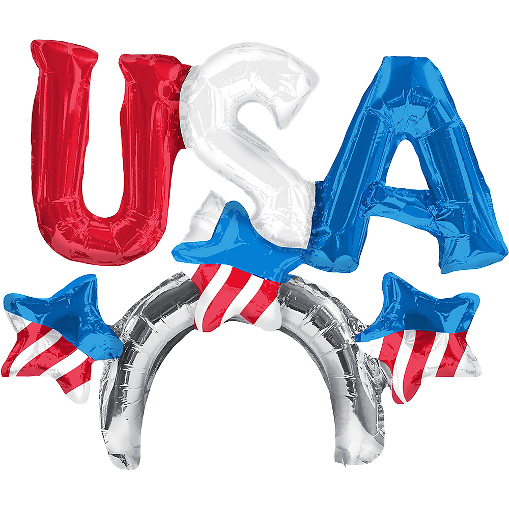 Air-Filled Patriotic USA Balloon Hat, 2in Image #2