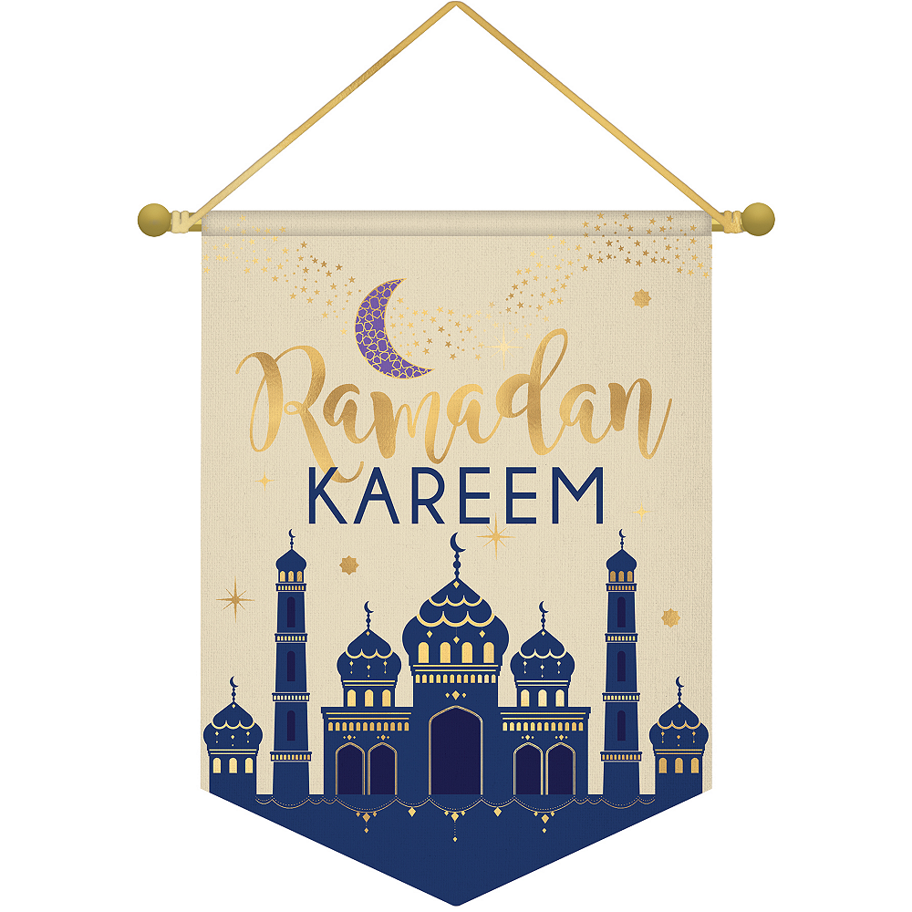 Metallic Gold Ramadan Kareem Canvas Banner Image #1