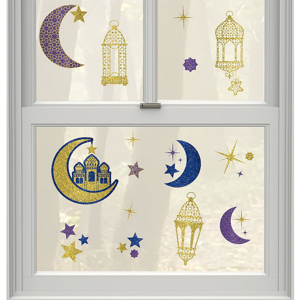 Glitter Crescent Moon & Mosque Eid Cling Decals 15ct Image #1