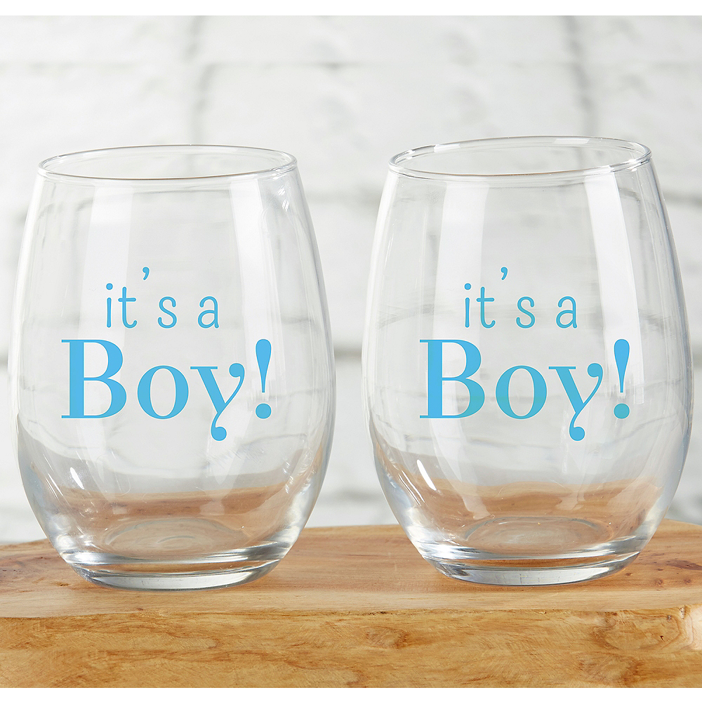It's a Boy Stemless Wine Glasses 12ct Image #1