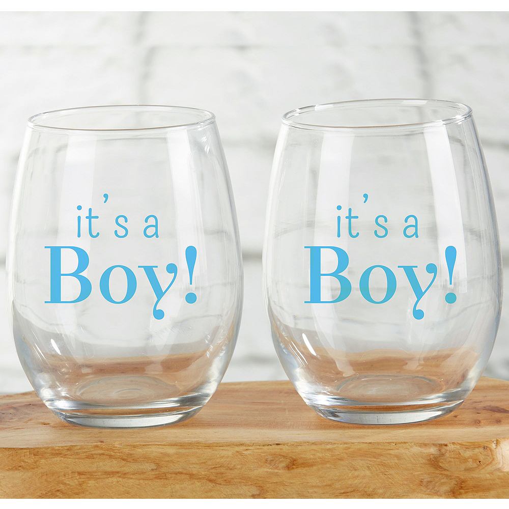 It's a Boy Stemless Wine Glasses 12ct Image #2