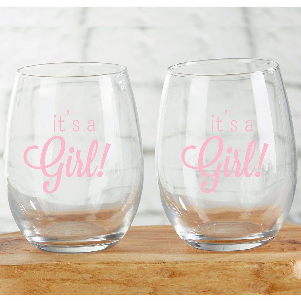 It's a Girl Stemless Wine Glasses 12ct Image #2