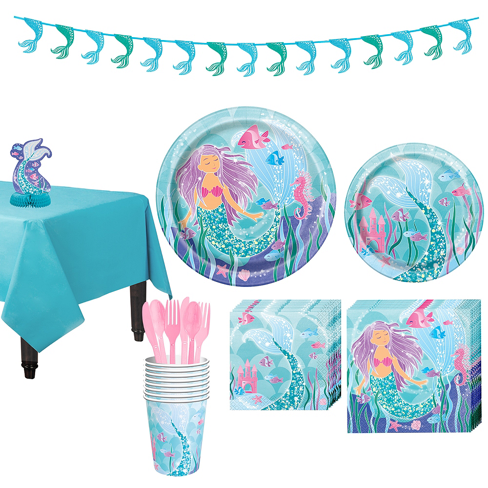 Mermaid Tableware Party Kit for 8 Guests Image #1