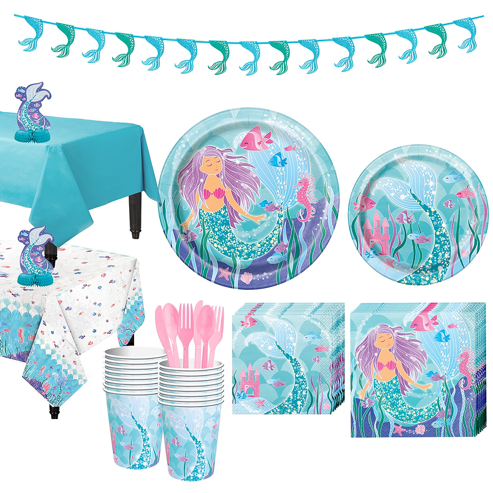 Mermaid Tableware Party Kit for 16 Guests Image #1
