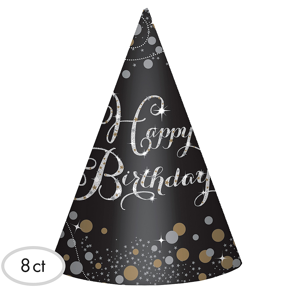 Sparkling Celebration Birthday Party Hats 8ct Party City