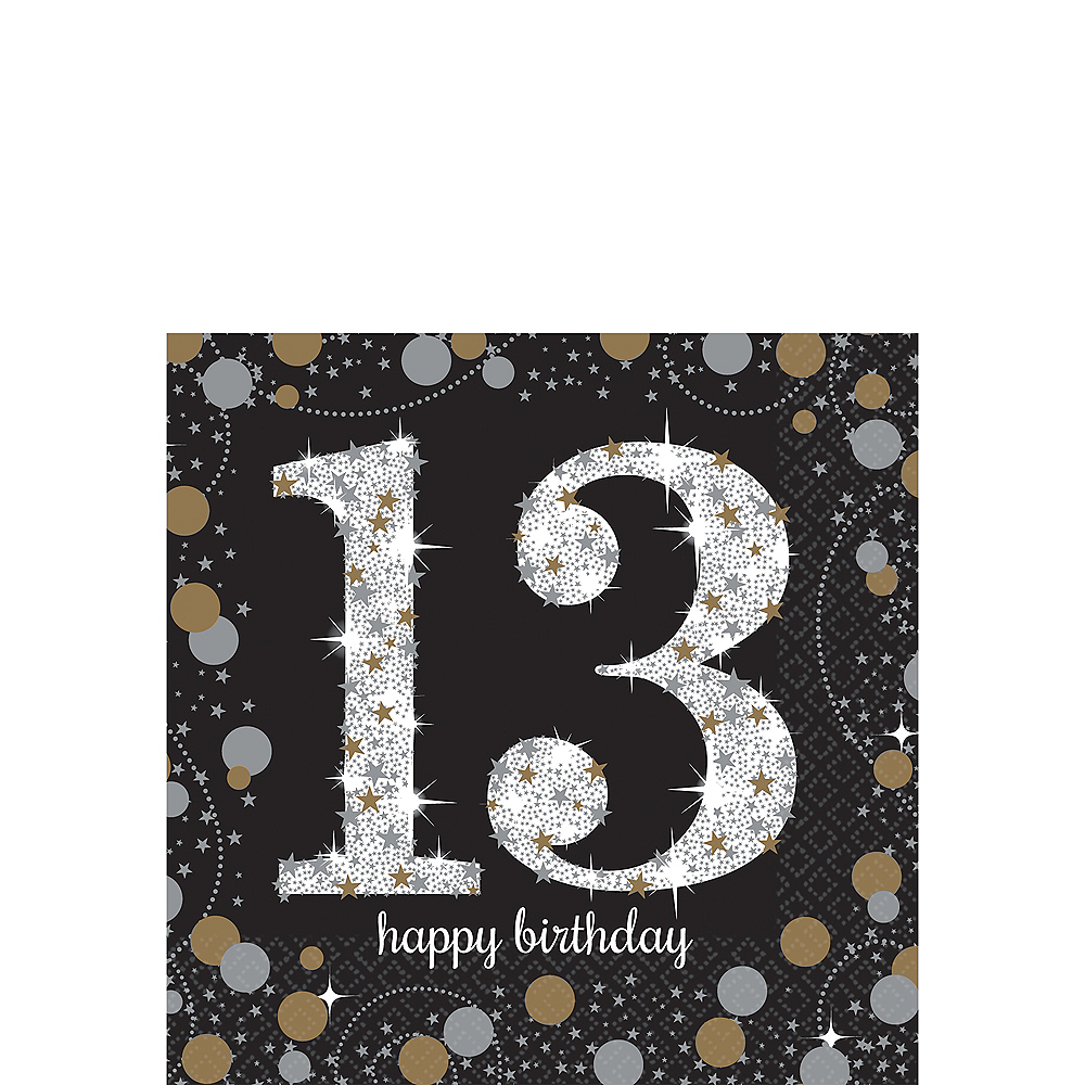 13th Birthday Beverage Napkins 16ct - Sparkling Celebration Image #1