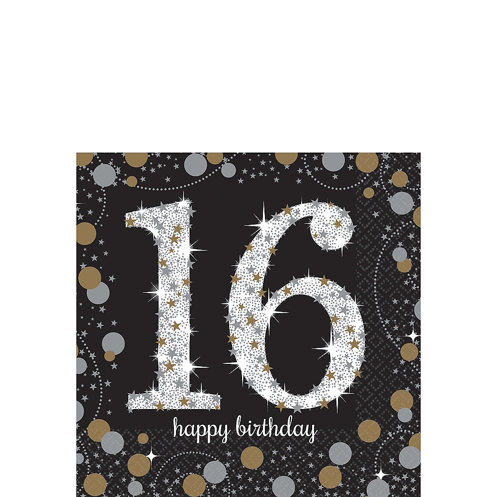 16th Birthday Beverage Napkins 16ct - Sparkling Celebration Image #1