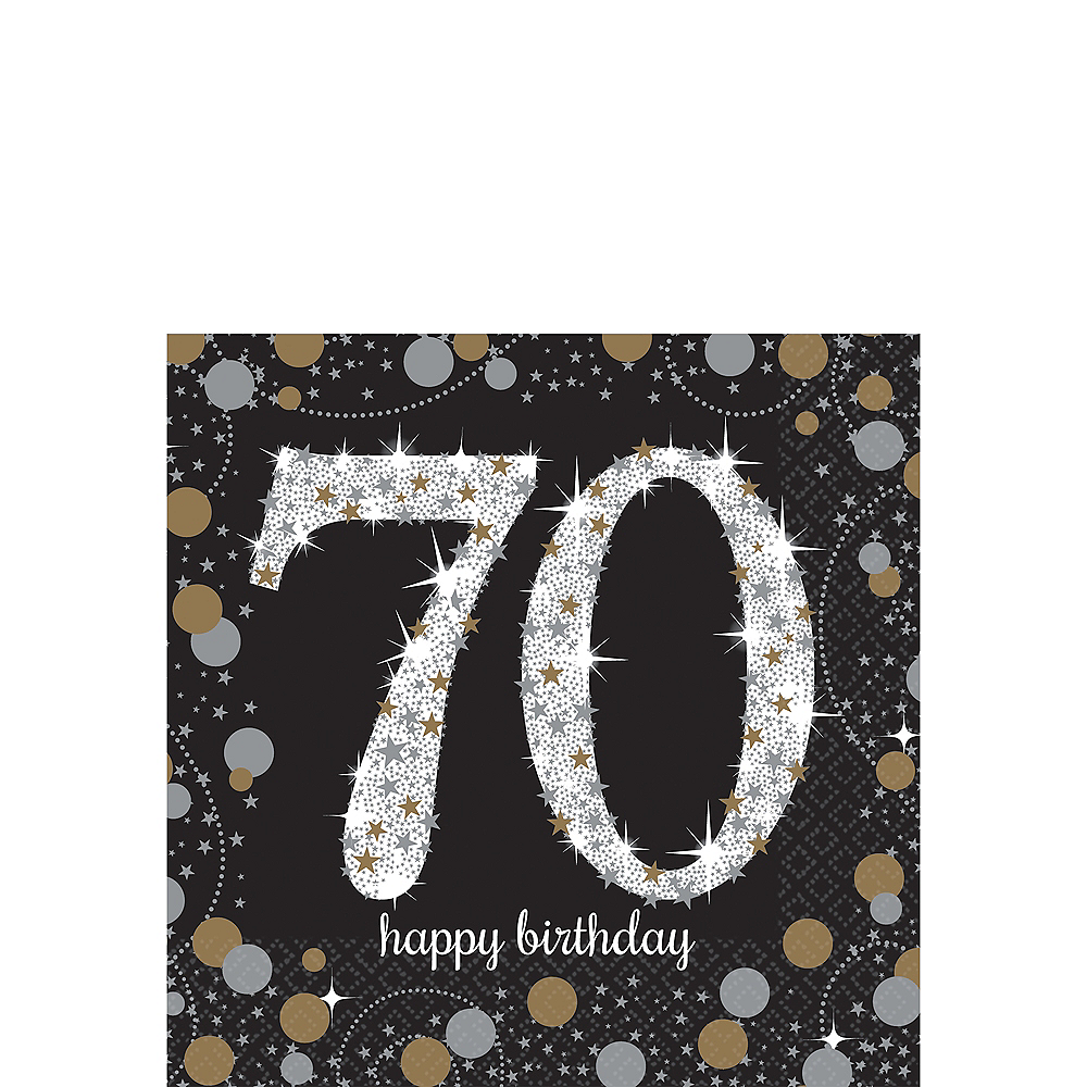 70th Birthday Beverage Napkins 16ct - Sparkling Celebration Image #1