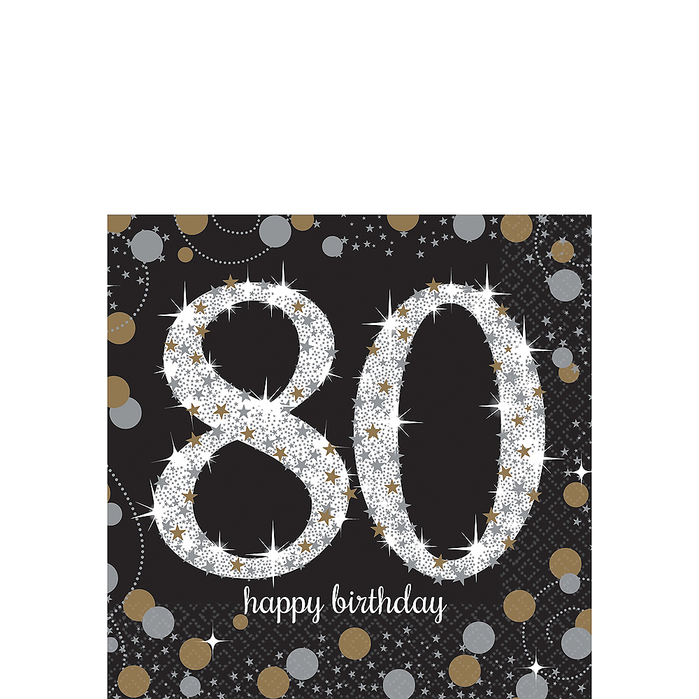 80th Birthday Beverage Napkins 16ct - Sparkling Celebration Image #1