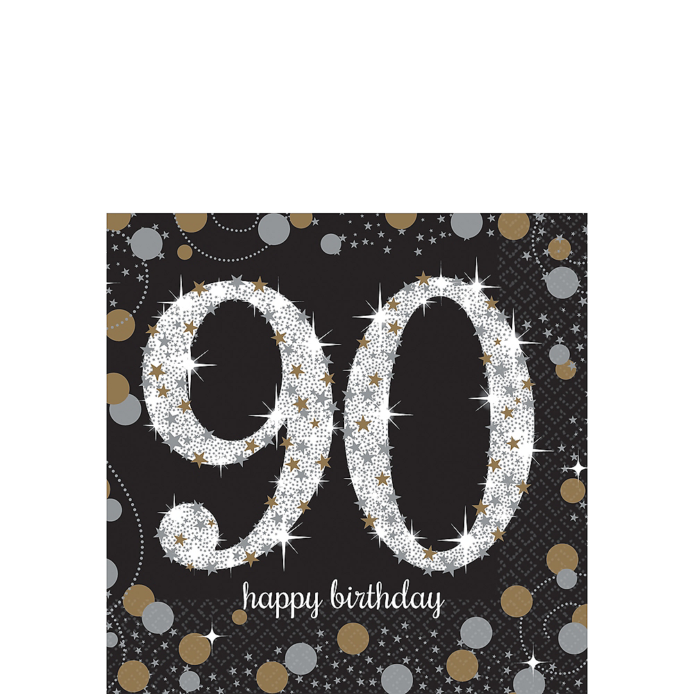 Sparkling Celebration 90th Birthday Beverage Napkins 16ct