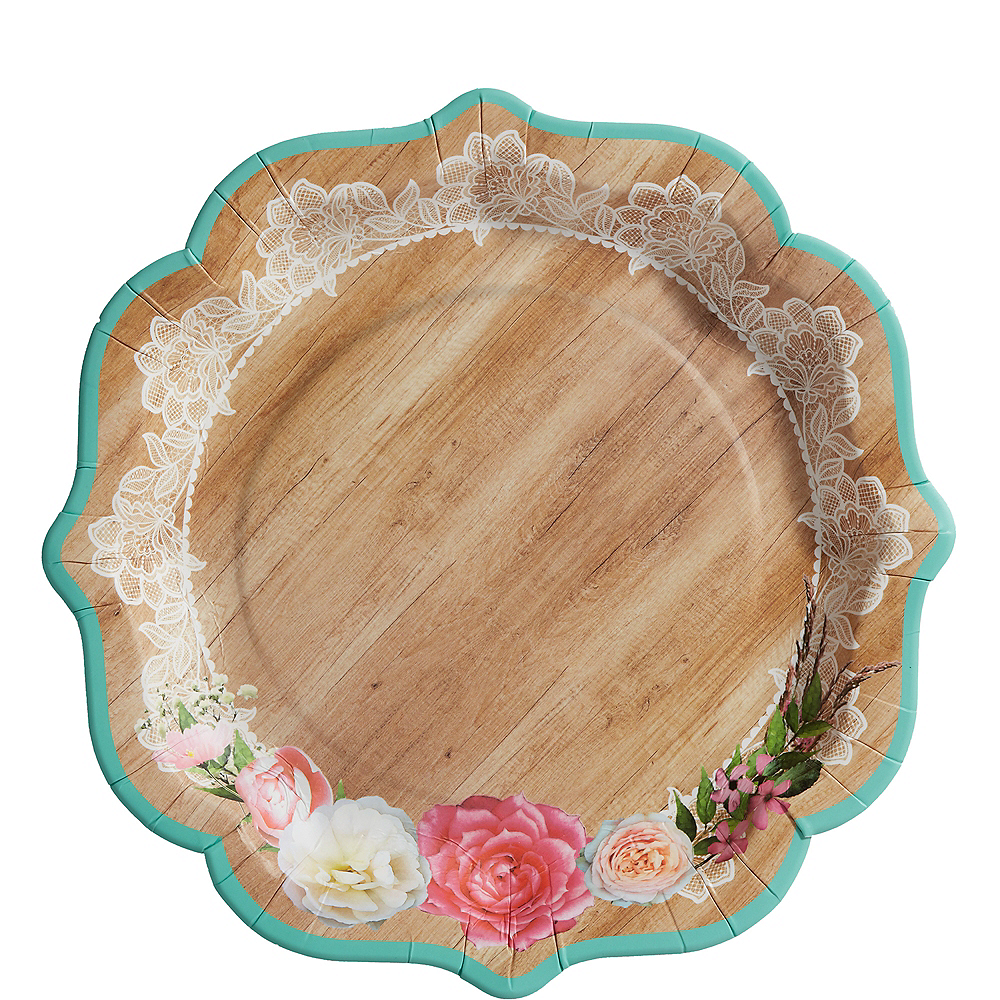 Floral & Lace Rustic Wedding Lunch Plates 8ct Image #1