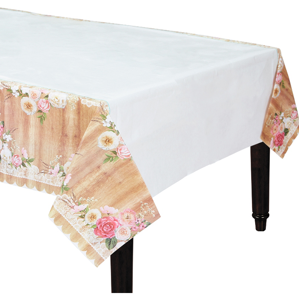 Floral & Lace Rustic Wedding Table Cover Image #1