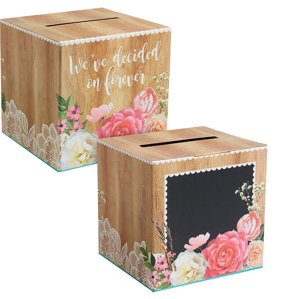 Wedding Card Box: Floral & Lace Rustic Wedding Card Holder Box 12in X 12in