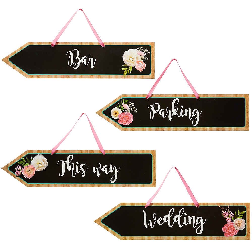 Floral & Lace Rustic Wedding Arrow Signs 6ct Image #1