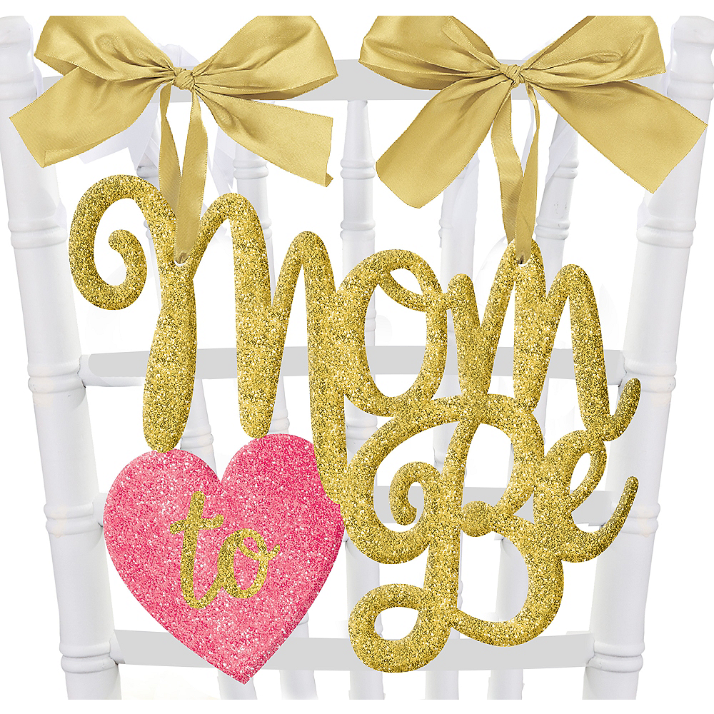 Glitter Mom-to-Be Chair Sign Image #1