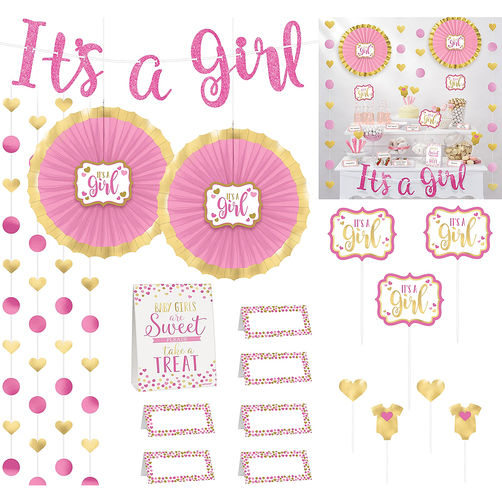 Nav Item for It's a Girl Baby Shower Treat Table Decorating Kit 23pc Image #1