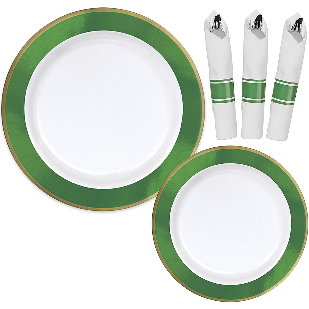 Premium Festive Green Border & Gold Tableware Kit for 20 Guests Image #1
