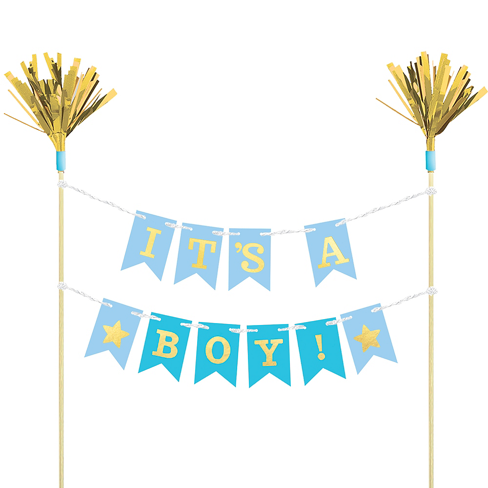 Nav Item for Blue Baby Shower Pennant Banner Cake Topper Image #1