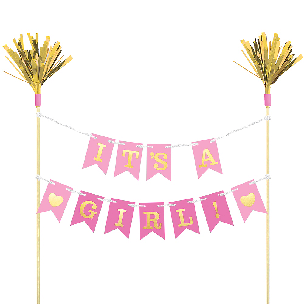 Nav Item for Pink Baby Shower Pennant Banner Cake Topper Image #1