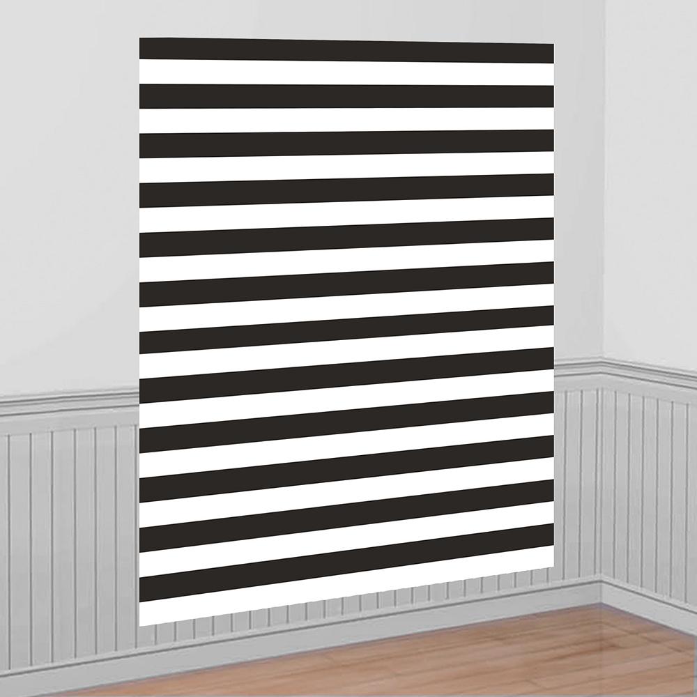 Black White Striped Scene Setter 54in X 72in Party City