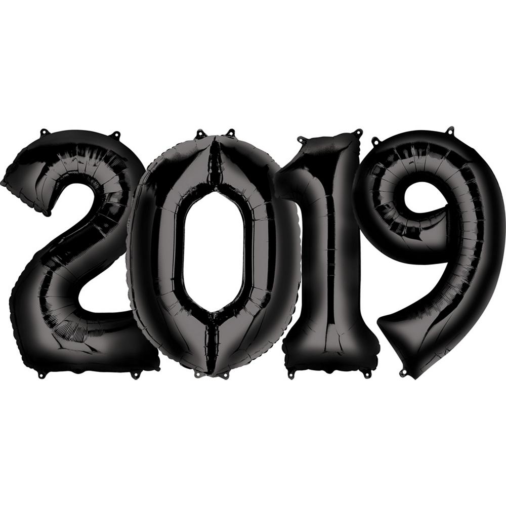 34in Black 2019 Number Balloon Kit Image #1