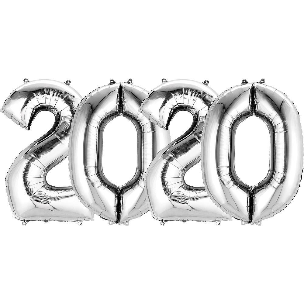 34in Silver 2020 Number Balloon Kit Image #1